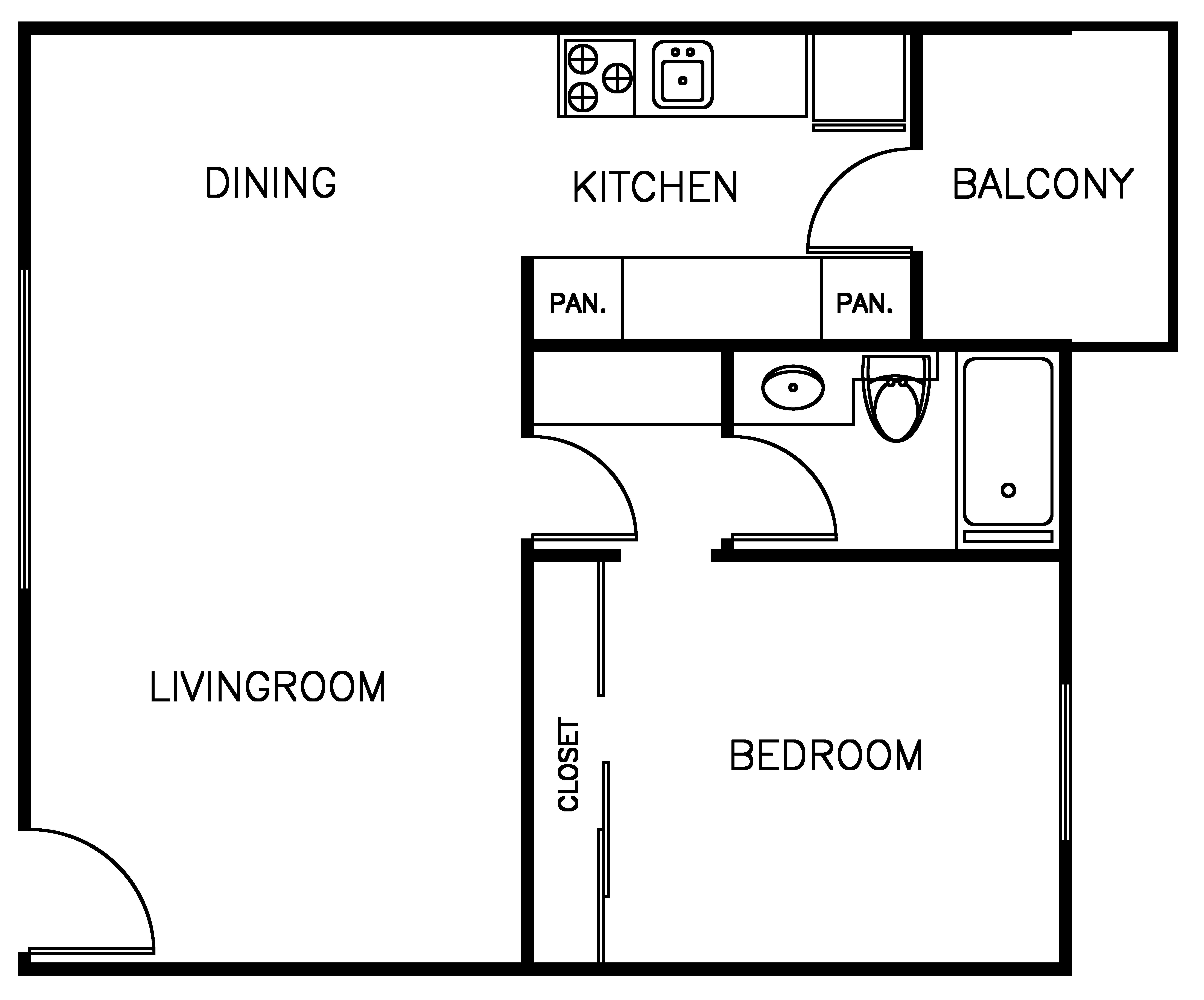 Spacious 1 bedroom floor plan layout